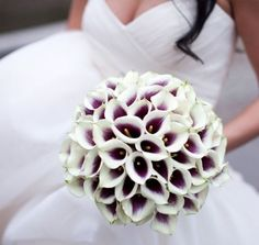 all calla lilybouquet with a hint of purple♥