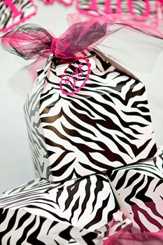 Zebra Party Favor Boxes...cute for Girls Night party favors!