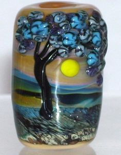 WSTGA~COUNTRY LILACS~TREE European charm handmade lampwork focal glass bead SRA By Molly Cooley