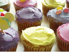 Allergen-Free Easter Cupcakes. Gluten-free, allergen-free AND vegan cupcake recipe from cookbook author, mom and food-allergic person, Cybele Pascal.