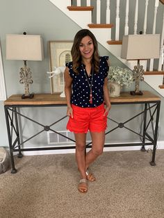 The perfect look for a of July BBQ - red, white, and blue Bbq Outfits, J Crew Outfits, Old Navy Outfits, Short Outfits, Cool Outfits, Summer Outfits, Bbq Outfit Ideas Summer, Summer Clothes, Blue Polka Dots