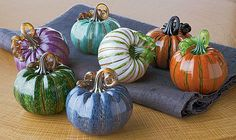 Mini Pumpkins by Leonoff Art Glass: Art Glass Sculpture available at www.artfulhome.com