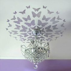 Purple Butterfly Ceiling. I don't know why, but I am completely in LOVE with this. And the idea. You could really use any color you wanted but I am in LOVE with the purple.