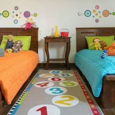 Fun bright colours in unisex kids bedroom (IKEA rug and bedding) - Decor & Ideas: Playroom Boy And Girl Shared Room, Baby Boy Rooms, Boy Girl Room, Unisex Bedroom Kids, Kids Bedroom, Bedroom Ideas, Childrens Bedroom, Bedroom Decor, Bedding Decor