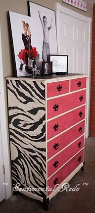 I would love to do a cool dresser!  I would not do it in pink, and I may scratch the zebra print too, but the whole diy thing is awesome.