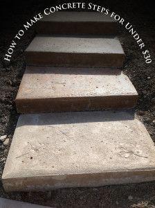 How to Make Concrete Steps for Under 30$!   I need to try pouring these in place on the hill!  LOVE the leaf idea!!