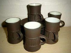 FROM: TRENDYenser.com Jens Harald Quistgaard (IHQ) Flamestone espresso cups  - 1960-70s - ceramic. #Quistgaard #IHQ #Flamestone #espresso #cups #Danish #kopper