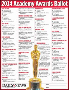 Oscars 2014: Print out the Daily News' ballot to predict the Academy Awards winners - Daily News