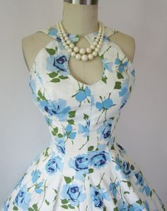 That neckline is amazing! 1950's Rose Print Cotton Garden Party Mad Men by TheVintageStudio