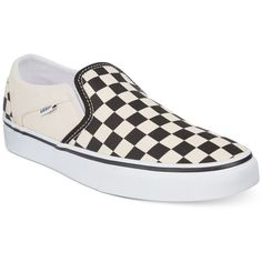 Vans Women's Asher Checkerboard Slip-On Sneakers ($50) ❤ liked on Polyvore featuring shoes, sneakers, vans trainers, slip on trainers, vans shoes, patterned shoes and vans sneakers