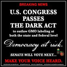 Say #NotoGMO. Make your voice heard, this is a crucial time!