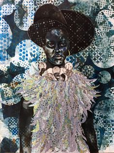 """""""Night Women"""" mixes myth and traditions between layers of mixed media to create portraits of Black women African American Artist, American Artists, African Art, Art Premier, Art Pictures, Art Pics, Art For Art Sake, Abstract Oil, Tribal Art"""