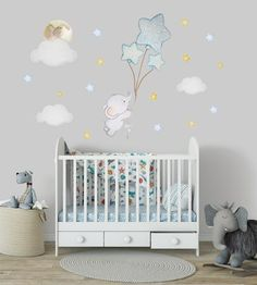 Elephant wall decal Elephant balloon wall decal Elephant nursery wall decal Balloon nursery Blue nursery wall sticker Baby room wall sticker - New Deko Sites
