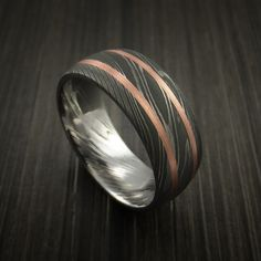 Damascus Steel Ring with Copper Inlays Custom Made Band - Revolution Jewelry  - 1