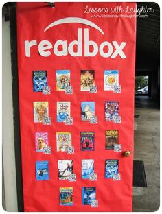 Door with QR Codes Lessons with Laughter: Readbox Door! Think Rita & Claudia will like this!Lessons with Laughter: Readbox Door! Think Rita & Claudia will like this! Classroom Door, Classroom Design, School Classroom, Classroom Organization, Classroom Ideas, Classroom Libraries, Future Classroom, School Libraries, Classroom Projects