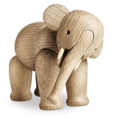 The Rosendahl wooden elephant is a Danish design classic by designer Kay Bojesen. Full articulated leg, head and trunk he's an elephant lover's dream. Buy online from Utility Design today Wooden Elephant, Elephant Love, Elephant Art, Wooden Figurines, Elephant Figurines, Stuffed Animals, Elefant Design, Wooden Animals, Stylish Baby