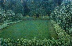 Henri Le Sidaner (Fr. 1862-1939), Le Jardin blanc au crépuscule, 1912, huile sur toile, Bruxelles,Musées royaux des Beaux-Arts de Belgique
