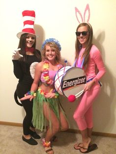 Halloween Costumes energizer bunny cat in the hat hula girl