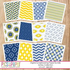 Ashley Paper - yellow and blue digital papers for scrapbooking, stationery, invitations and more.