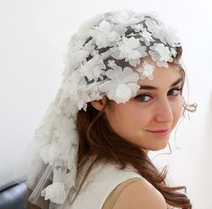 Bridal floral lace cap  vintage inspired  cream or by woomipyo, $180.00