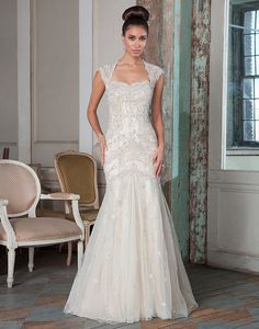 Style 9808: Beaded Tulle Fit and flare with a Queen Anne neckline   Justin Alexander Signature