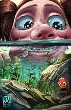 Finding Nemo is the movie which made every kid's life awesome. So, we are here to make you refresh ypur memory with Finding Nemo Poster Collection. Walt Disney, Disney Nerd, Disney Fan Art, Disney Love, Disney Magic, Darla Finding Nemo, Finding Dory, Finding Nemo Poster, Disney Villains Art