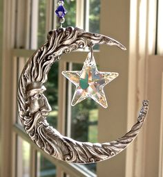 """Moon and Star Suncatcher, Large Pewter Crescent Moon, Swarovski 1"""" AB Star, Cobalt Blue and Clear AB Swarovski Beads - 11.5"""" Long"""