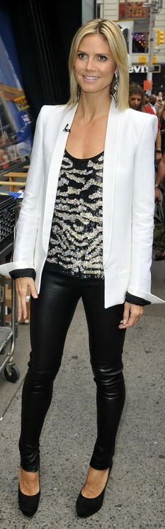 Heidi Klum: Jacket - Haider Ackerman Shirt - M. Patmos Pants - Balenciaga Shoes - Jimmy Choo