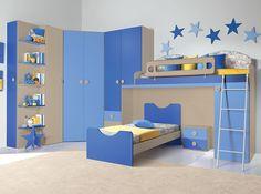Modern Kids Bedroom with Carpet, Italian Kids Bedroom VV Composition G035, Built-in bookshelf, limestone floors, High ceiling