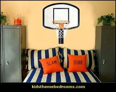 Ty and Cody basketball theme bedrooms Bedroom Themes, Bedroom Decor, Bedroom Ideas, Basketball Bedroom, Boys Room Decor, Kids Room, New Room, Swagg, House