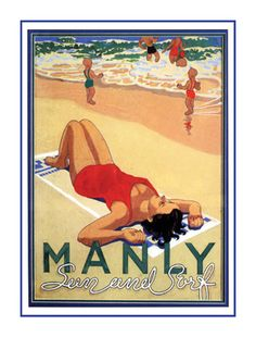 Vintage Manly Beach Poster olive oil cosmetics from the riviera . Manly Australia, Sydney Australia, Vintage Beach Posters, Vintage Art, Posters Australia, Australian Vintage, Manly Beach, Beaches In The World, House By The Sea