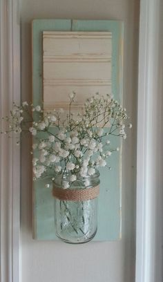 mason jar wall vase by whitepinecrafters on Etsy, $24.00http://www.etsy.com/listing/130738577/mason-jar-wall-vase?ref=sr_gallery_33&ga_search_query=mason+jar&ga_view_type=gallery&ga_ship_to=US&ga_page=30&ga_search_type=all