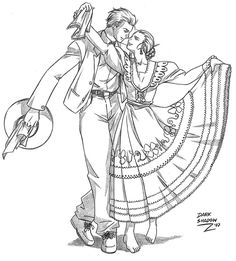 Niña bailando marinera para colorear - Imagui
