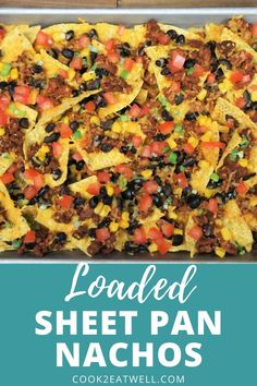 Loaded Sheet Pan Nachos are easy to make and absolutely delicious. Corn tortilla chips are loaded up with flavorful taco meat black beans corn black olives green onions tomatoes and of course cheese. Mexican Food Recipes, Beef Recipes, Cooking Recipes, Healthy Recipes, Easy Recipes, Recipies, I Love Food, Good Food, Yummy Food