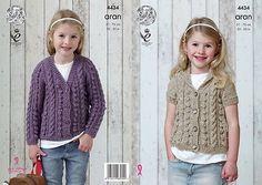 King Cole Girls Short & Long Sleeved Cardigans Aran Yarn Knitting Pattern 4434