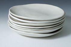 """9"""" Matte White Steingut Teller, Keramik handgefertigte Steinzeug - einzeln verkauft - weißer Stein Ware handgefertigte Keramikplatten bereit, Schiff"""