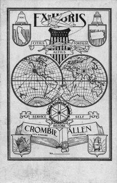 Citius altius fortius. Service before self. Ex Libris Rotary International Crombie Allen, Los Angeles, California