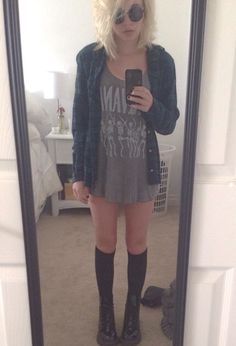 t-shirt dress + plaid
