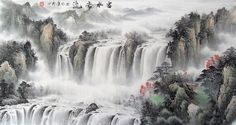 Big Waterfall Landscape Abstract art Chinese Ink Brush Painting, 180*96cm Chinese wall scroll painting Freehand brush work Feng shui paintings Artist original works of handwriting Rice paper Traditional art painting. USD $ 307.00