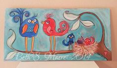Whimsical Birds Acrylic Painting Original Painting  by Beth Macre