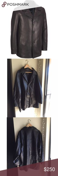 Wilsons Leather Men's Jacket - Sz XXL Perfect condition, sleek black leather, with buttons. Two inside pockets, both on the left side. Size XXL Wilsons Leather Jackets & Coats
