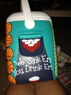 We sink em, you drink 'em painted cooler. For Donnie Diy Cooler, Coolest Cooler, Fraternity Coolers, Frat Coolers, Formal Cooler Ideas, Cooler Connection, Bubba Keg, Fun Crafts, Arts And Crafts