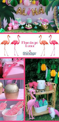 Celebrate your summer with party ideas from the Shindigz blog! Check out the Flamingle Luau Party that /lauraslilparty/! styled using Shindigz products!