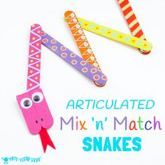 SNAKE CRAFT : This Mix 'N Match Articulated Snake Craft is such fun and twists, turns and slithers like a real one! With bright and colourful interchangeable body parts kids can make a unique snake toy every time they play!