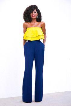 Style Pantry | Frill Crop Top + High Waist Wide Leg Pants