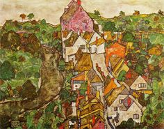 Egon Schiele, Landscape at Krumau, 1916