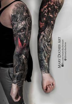 #tattoo #tattoed #dark #fantasy #skull #skulltattoo #sleeve #mythology #zeus #poseidon #ancor #tattoosleeve #dark #worldfamousink #cerberus #maryduchessart