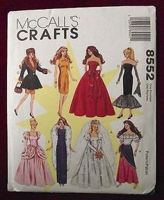 """McCall's Sewing Pattern 8552 11-1/2"""" Fashion Doll Clothes Gowns Dresses and Coat"""