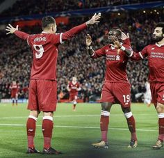 Firmino, Mane and Salah celebrating against Spartak Moscow Liverpool Football Club, Liverpool Fc, Premier Liga, Premier League Champions, You'll Never Walk Alone, Best Player, My Boys, Cool Photos, Soccer