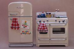 ❤️ Dollhouse mini stove and refrigerator